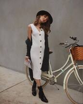 dress,white dress,midi dress,boots,sweater,button up,felt hat