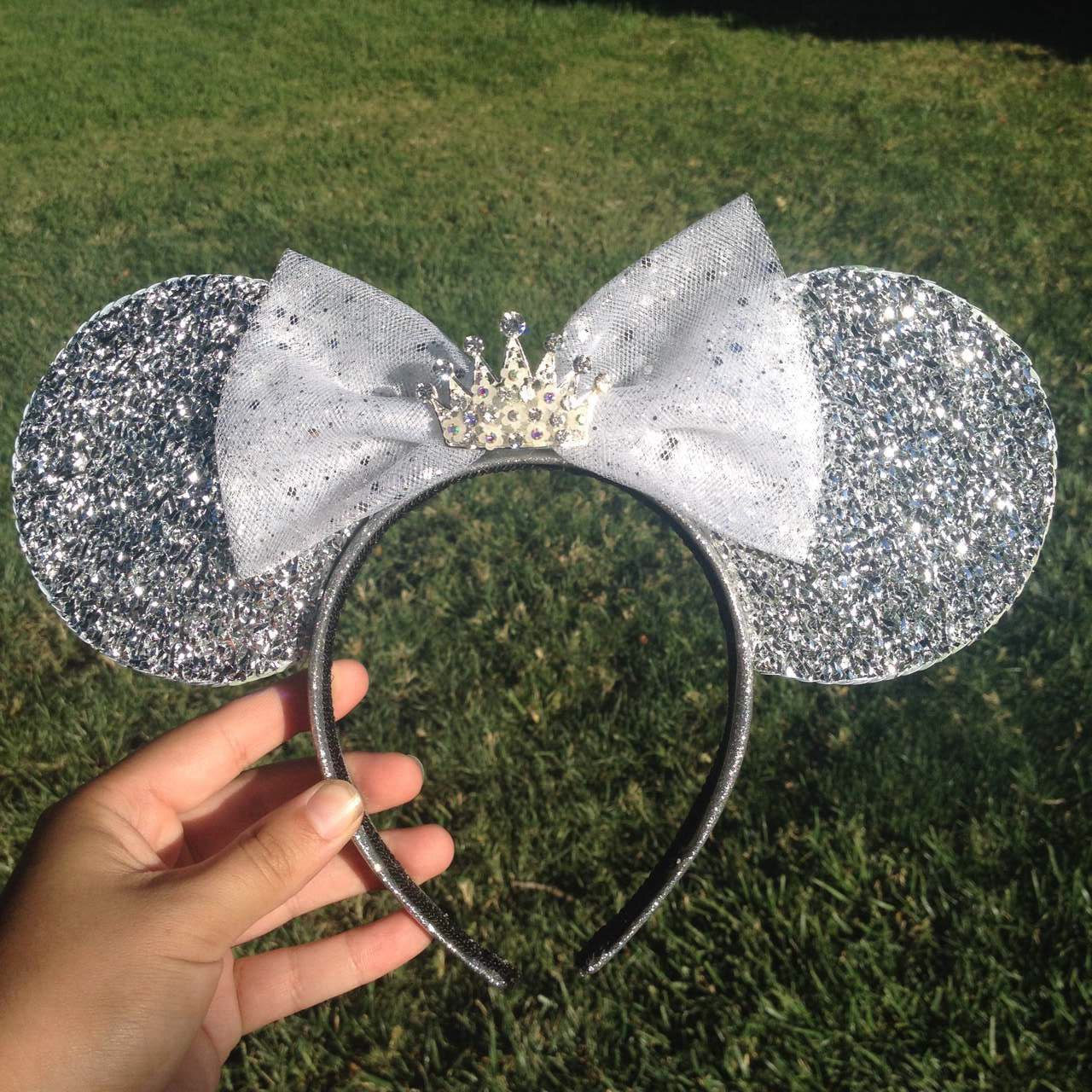 Deluxe Silver Diamond Queen Minnie Mouse Ears with Rhinestone center Crown