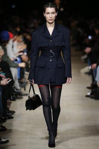 jacket tights bella hadid fashion week 2016 paris fashion week 2016 runway model purse miu miu