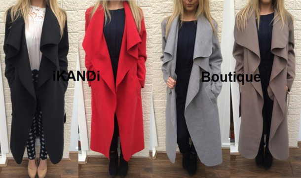 coat black grey red charcoal waterfall jacket waterfall coat long long coat jacket cardigan gilet shawl wrap cape drape open front jacket trench coat trendy fashion hot cool cute style stylish sexy