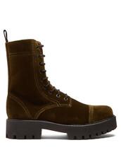 velvet boots,lace,velvet,khaki,shoes