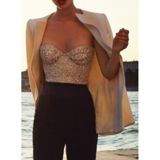 cardigan blazer nude fashion style top sequins glitter sexy chic sequined tube top for women hot summer trendy strapless