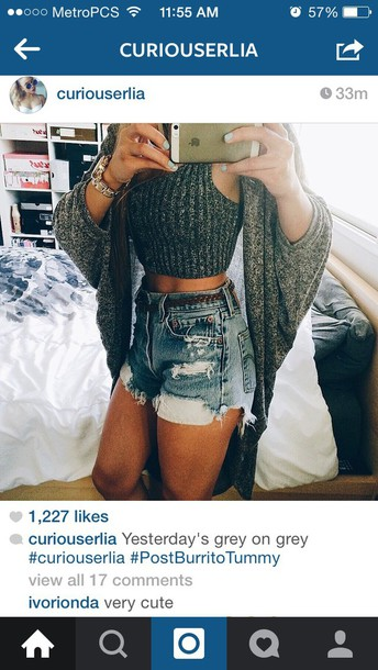 cardigan grey shorts top croptop cardigan grey shortss dress earphones skirt