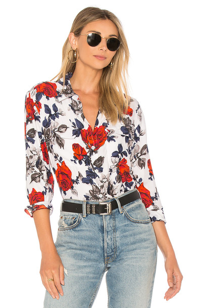Equipment shirt floral shirt floral white top