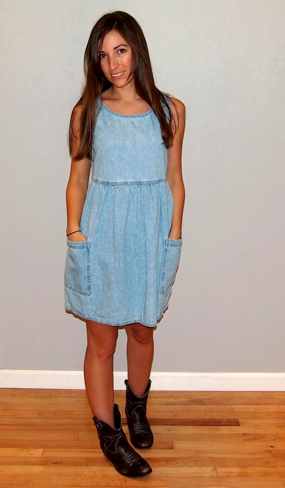 Vintage denim mini dress with pockets, size small