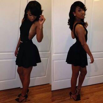 black dress little black dress backless dress skater dress cinched waist dress belted dress cocktail dress