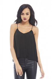 top,black top,black chiffon,chiffon top,pleated top,thin straps,draped top,crop tops,www.ustrendy.com