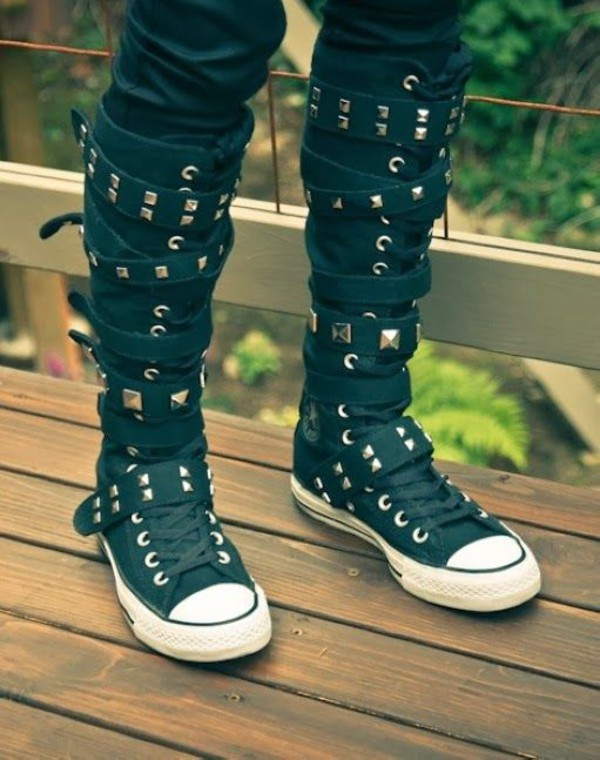 shoes strappy edgy studs converse punk rock knee high converse high top converse