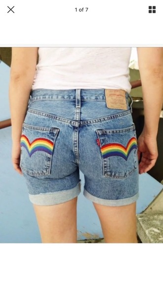 shorts high waisted shorts rainbow denim jeans vintage retro 90s style blue embroidered boho hippie dark light blue old school