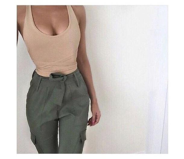 pants green nude pants tank top hippy trousers
