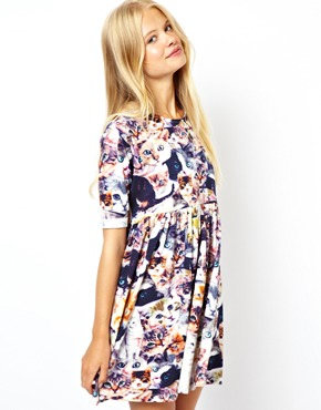 ASOS | ASOS Smock Dress In Digital Cat at ASOS