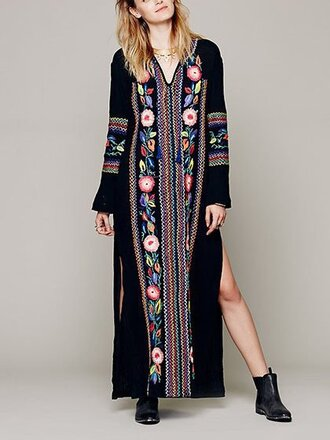 dress chiclook closet kaftan fashion boho style trendy boho chic fall outfits streetstyle fall dress floral embroidered