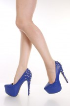 Blue Faux Leather Spike Studded Pump Heels @ Amiclubwear Heel Shoes online store sales:Stiletto Heel Shoes,High Heel Pumps,Womens High Heel Shoes,Prom Shoes,Summer Shoes,Spring Shoes,Spool Heel,Womens Dress Shoes,Prom Heels,Prom Pumps,High Heel Sandals,Ch