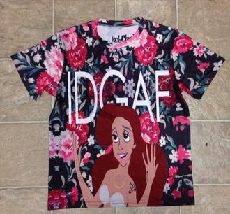 t-shirt aerial little mermaid roses floral print top floral print shirt cute top top shirt