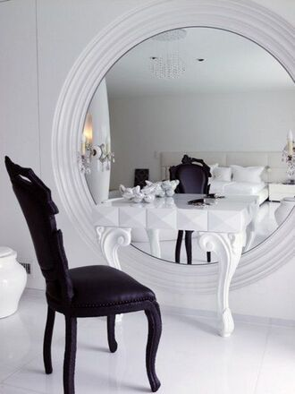 white mirror luxury luxurious glamgerous black bedroom design fashion dressing table chair makeup table