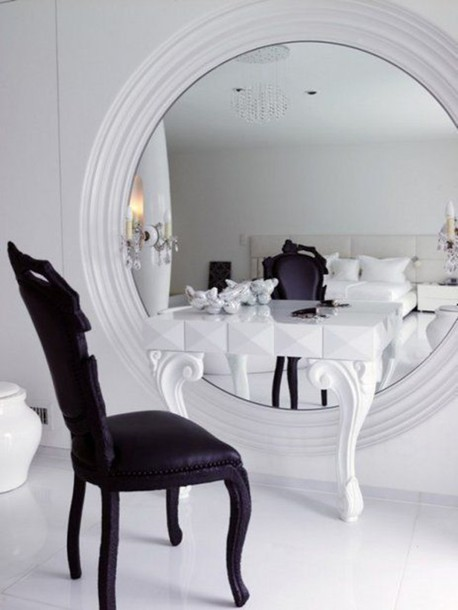 white mirror luxury luxurious glamgerous black bedroom design fashion  dressing table chair makeup table. white  mirror  luxury  luxurious  glamgerous  black  bedroom