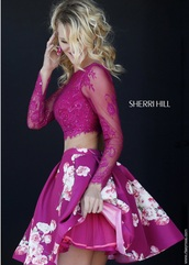 dress,two piece dress set,two-piece,sherri hill,homecoming,floral,floral dress,pink,sheer,lace,detailed beading,long prom dress,long sleeve prom dress,homecoming dress,home decor,short homecoming dress,sexy homecoming dresses,two piece prom dresses,cocktail dress,party dress,sexy party dresses,see through dress
