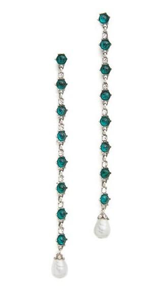 pearl earrings silver green jewels
