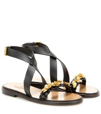 embellished sandals leather sandals leather black shoes