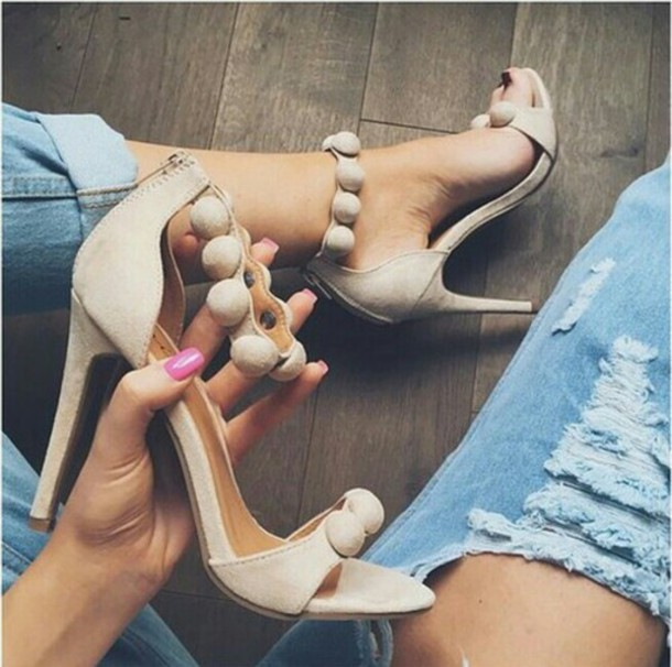 2f3ad54857 shoes, nude, nude sandals, nude heels, pom pom sandals - Wheretoget