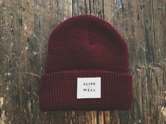 hat beanie bordeaux red winter hipster nice