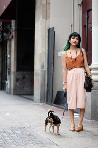 joellen love blogger culottes rust fall colors smoking slippers
