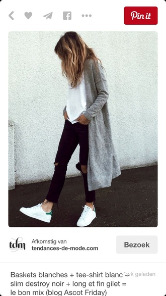 cardigan grey long vest coat shoes gray long cardigan white blouse black jeans black jeans adidas stan smith green long cardigan long sleeves stan smith oversized cardigan grey cardigan knitted cardigan pants ripped jeans