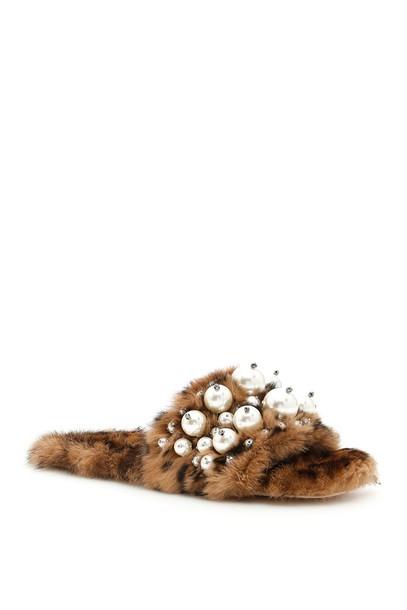 Miu Miu fur print leopard print shoes