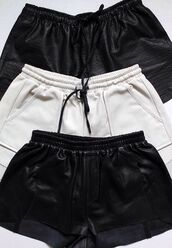 shorts,leather,tumblr,summer,black,white,cute shorts,casual shorts,leather shorts,white shorts,black shorts,casual,rad,tumblr shorts,fashion inspo,outfit idea,cool,trendy,style,stylish,fashionista,chill,blogger,on point clothing