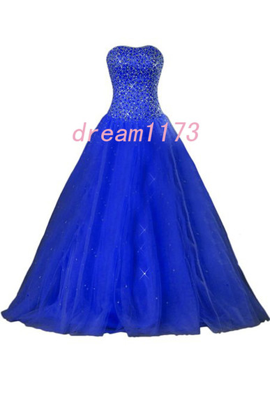 evening dress blue prom dress a-line bridesmaid dress beading evening dress