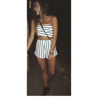 romper stripes jumpsuit 2 piece short set cute two-piece