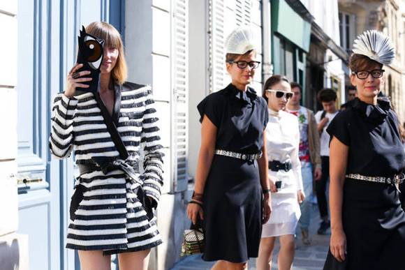 jacket stripes fashion week 2014 streetstyle