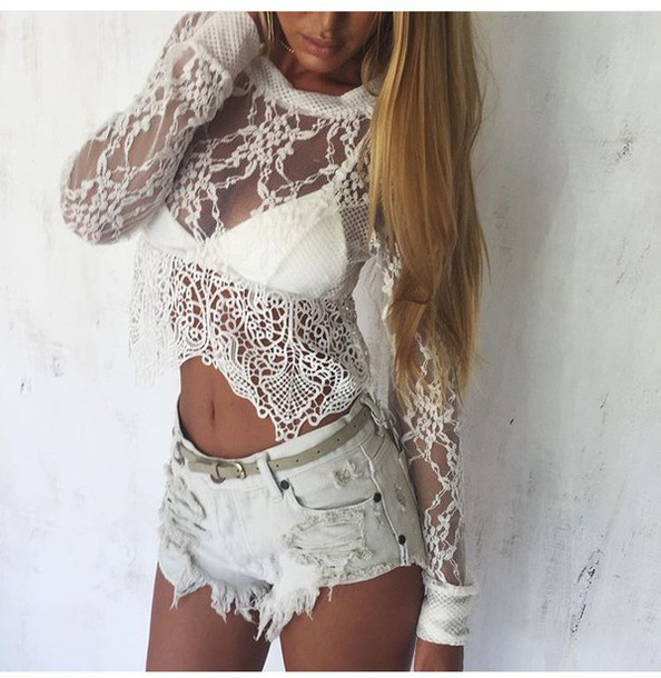 Top: see through, long sleeves, lace top, shorts, high waisted ...