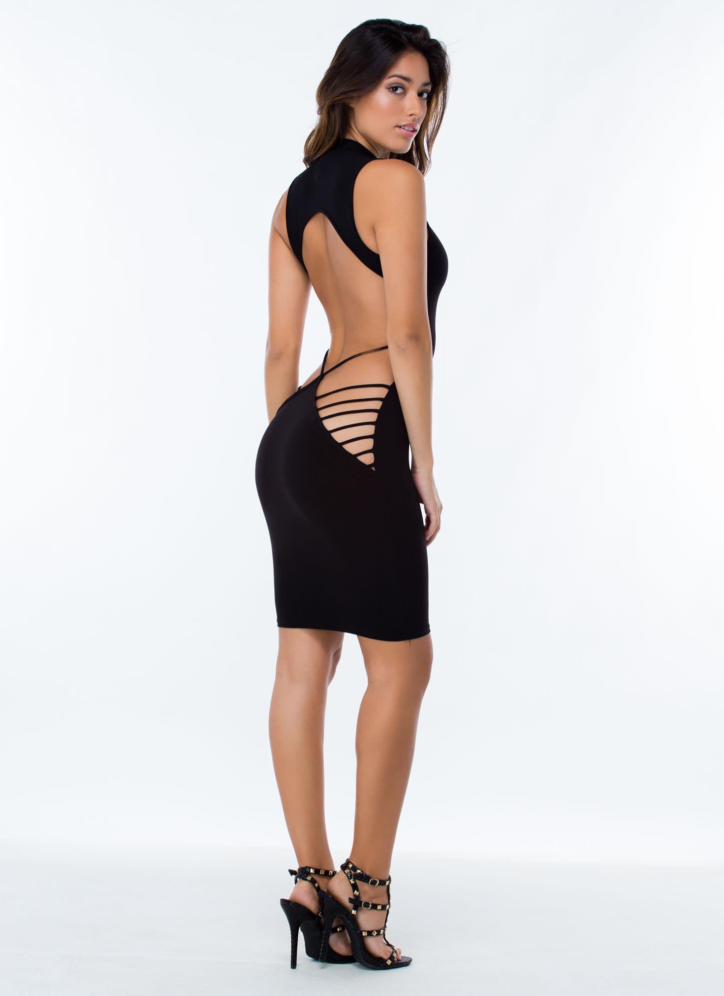 2 Cheek Strappy Dress WHITE BLACK RED - GoJane.com