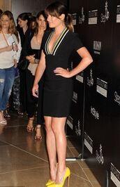 dress,mini dress,plunge v neck,lea michele,pumps,yellow shoes,shoes