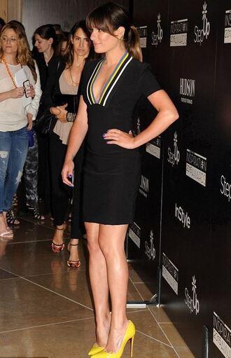 dress mini dress plunge v neck lea michele pumps yellow shoes shoes