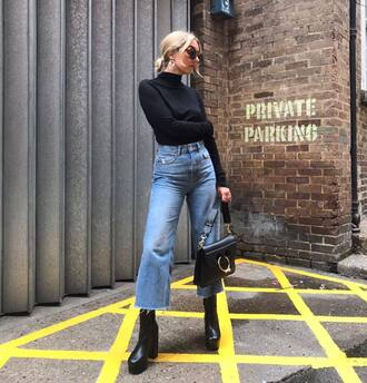 jeans tumblr blue jeans kick flare top black top turtleneck boots black boots sunglasses bag black bag