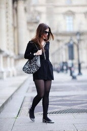 elodie in paris,blogger,romper,casual,black,ballet flats,jewels,sunglasses,shoes,bag,printed ballerinas,tights,black romper,animal print bag,animal print,shoulder bag,chain bag,cat eye,black sunglasses,fall outfits