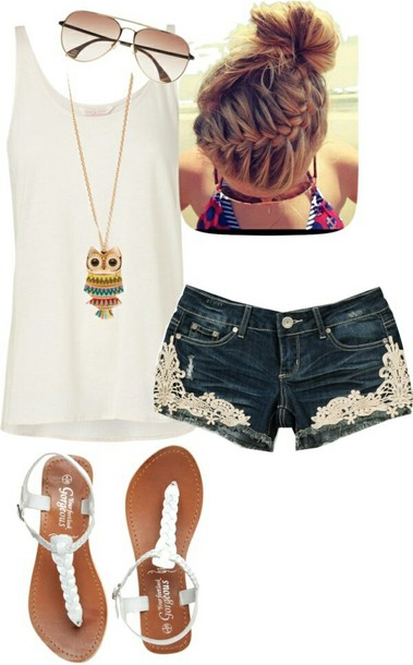 shorts lace shorts jeans emboidery bells summer boho hippie hipster cute hot lace denim pants tank top