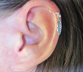 jewels earrings cute girly feathers ring nice silver helix piercing