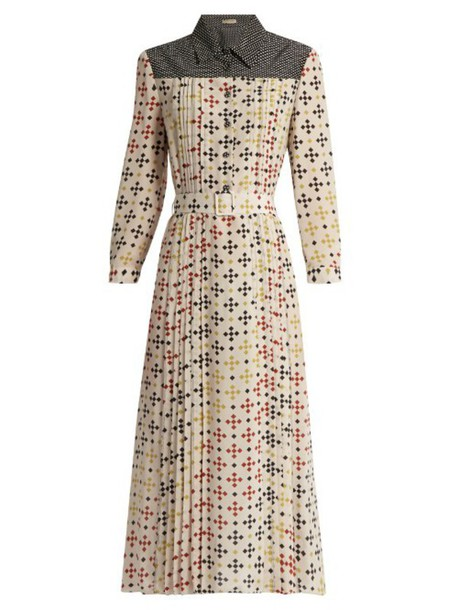 df10d869f Bottega Veneta BOTTEGA VENETA Bricks-print silk-crepe midi dress in white /  multi