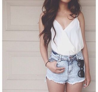 blouse white chiffon sunglasses shirt shorts drape cute pretty summer denim top wrap blouse strappy white top solid blouse tank top