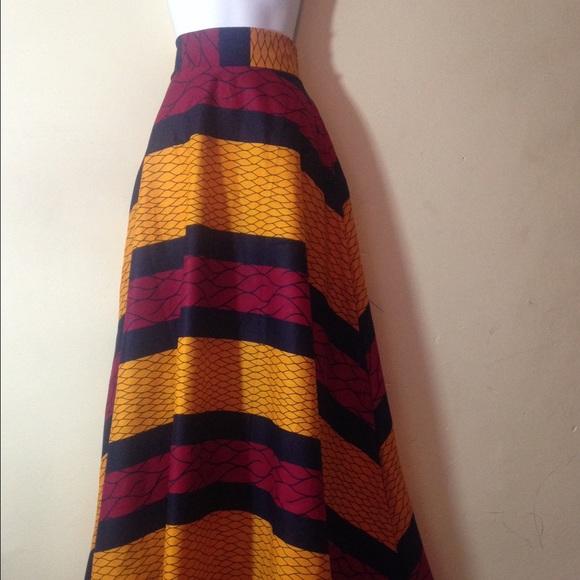Handmade Holland Wax African Print High Waist Maxi Skirt