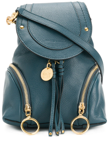 women backpack leather cotton blue bag