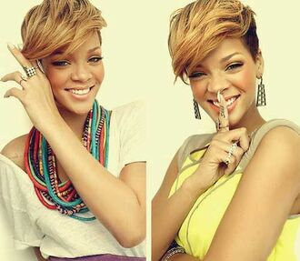 jewels necklace multi-colored rihanna haircut