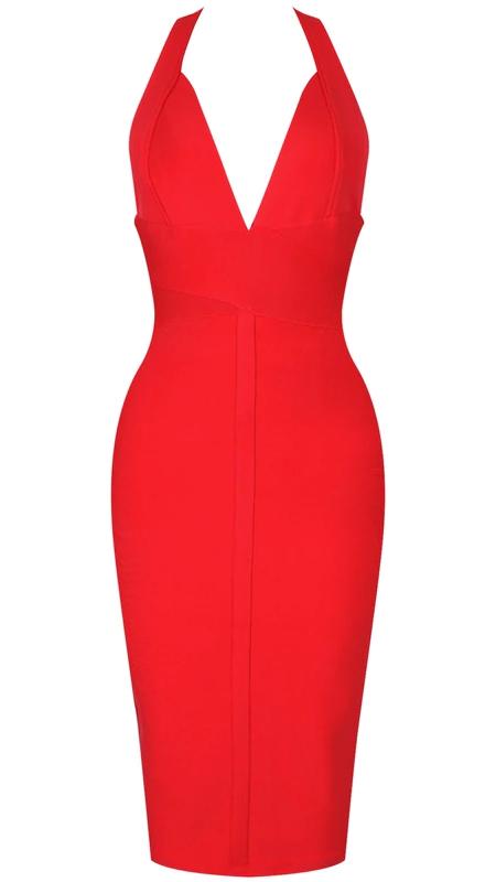 Halter Backless Midi Bandage Dress Red