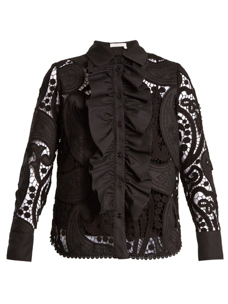 See by Chloe shirt ruffle lace cotton black top