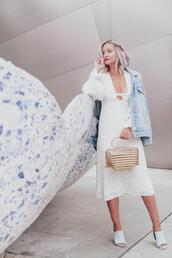 late afternoon,blogger,dress,jacket,shoes,bag,jewels,cult gaia bag,white dress,midi dress,mules,denim jacket,spring outfits