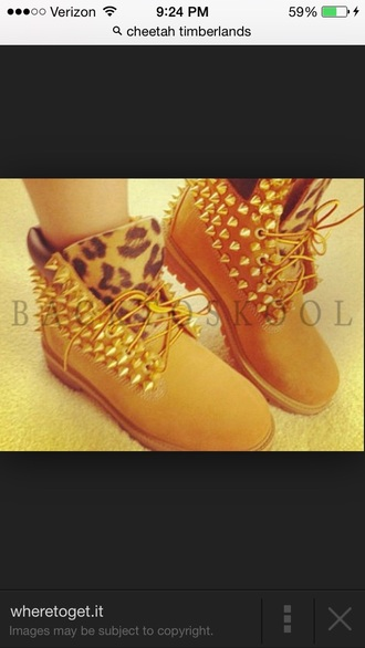 cheetah print gold studded shoes boots with spikes and cheetah print timberlands