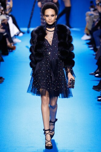 dress mini dress fur jacket runway elie saab crystal blended elie saab model paris fashion week 2016 fashion week 2016 fall outfits